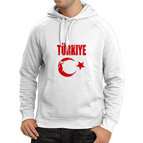 lepni.me Sweatshirt à Capuche Manches Longues Armoiries Turques de Turquie Conception politiqu Türkiye Cumhuriyeti (Small Blanc Magenta)