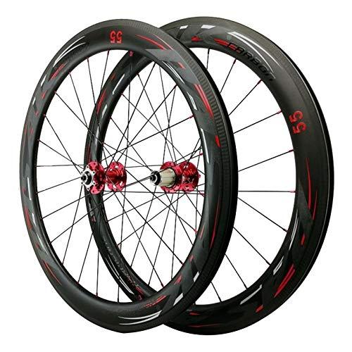 Carbono Ruedas de Bicicleta,Liberación Rápida Freno de Disco Bicicleta de Carretera Ruedas Aplicar para 700C*23C/25C/28C/32C/35C/38C Llantas (Color : 55mm, Size : Red hub)