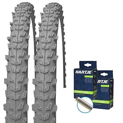 KENDA Set: 2 x Psycho GRAU Fahrrad MTB Reifen 26x1.95 + SCHLÄUCHE m. Autoventil