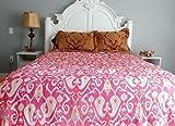 Kiara Indische Kantha Quilts Baumwoll-Tagesdecken und Decken, wendbar, Paisley-Muster, Stichwürfe, Doppelgröße/Queen Size (Barbie Pink, Queen)