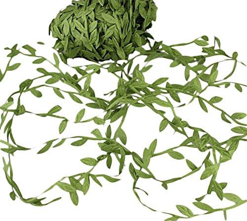 Toruiwa Couronne de feuilles vertes artificielles en rotin fait à la main Décoration pour maison, mur, jardin, fête, mariage, Noël et plus vert (10 m)