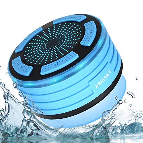 HAISSKY Altavoz Bluetooth Ducha Impermeable portátil inalámbrico con Luces de Humor LED,Ventosa,Micrófono Incorporado,Radio FM,Manos Libres para iPhones, AndroidTablets y Dispositivos Bluetooth