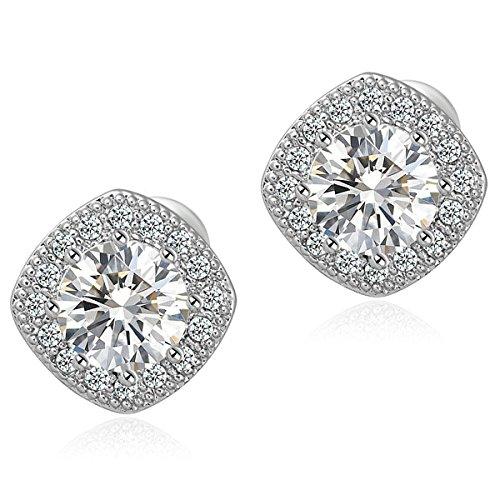 18K White Gold Plated Square Shape Stud Earrings Cz Stud Earrings Stud Earrings for Teens&Women