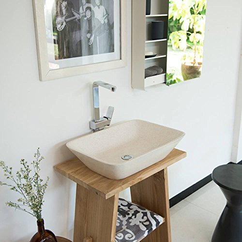 wohnfreuden Terrazzo opzetwastafel 55 x 40 x 13 cm ✓ crème rechthoekig bad gastentoilet ✓ wastafel wasschaal opzetwastafel