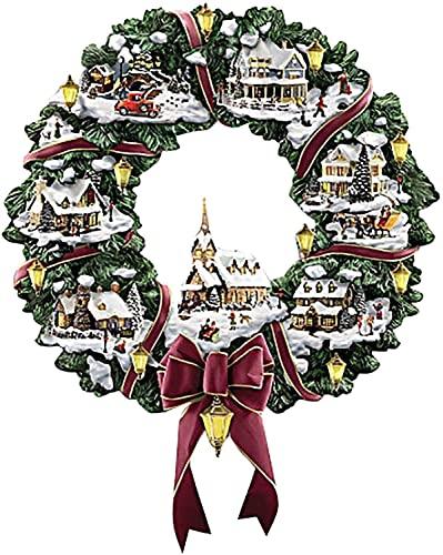 CAETNY Decoração de Natal Grinalda de outono Coroa de outono Artificial Adesivos de Janela de Natal, Árvore de Natal Escultura Rotativa Coroa de trem Decorações de adesivos em Pasta de Janela, Deco