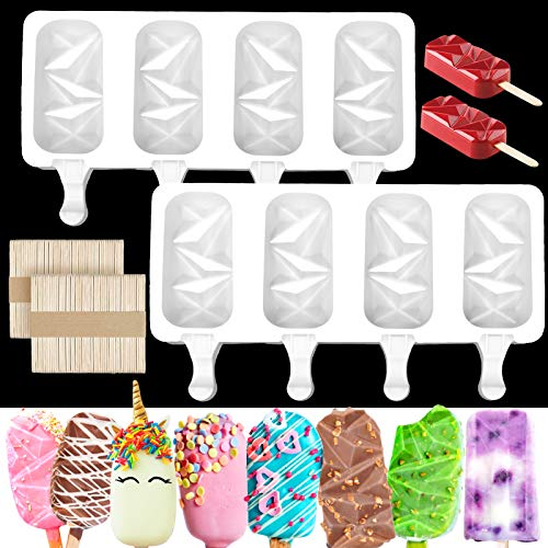 Mity rain 2 Packs Popsicle Molds Silicone/ Large Diamond Oval Chocolate Covered Ice Cream Bar Mold Reusable Homemade Ice Pop Tray Mold with 100 Wooden Sticks for DIY Ice Lollies Cake Pops Cakesicle