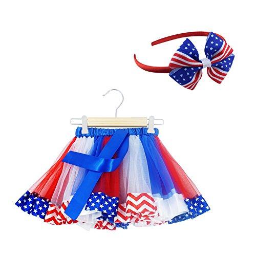 SUNTRADE 2 pcs Kids Girls July 4th American Flag Printed Tutu Skirt Independence Day Dance Dress Set (L)
