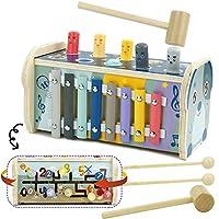 ☆Giochi Xilofono Bambini 3 IN 1 - combina xilofono a 8 note, martello giocattolo e gioco labirinto. I bambini possono divertirsi con 3 giochi con 1 giocattolo e soddisfare i 3 desideri del bambino contemporaneamente. ☆Giocattoli Educativi - Imparare ...