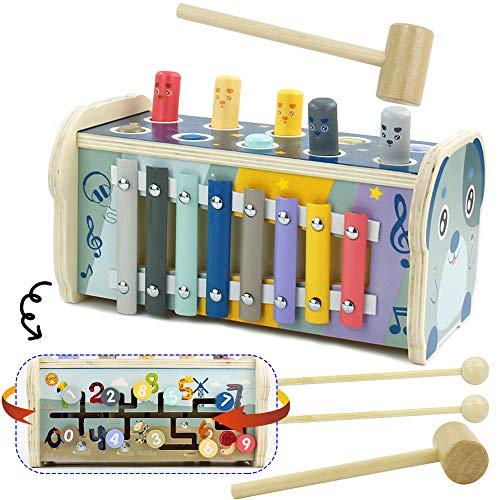 Nuheby Hammerspiel Xylophon Klopfbank Montessori Spielzeug für Kinder 3 Jahre Junge Mädchen,3 in 1 Holzspielzeug Klopfbank Holzhammer Labyrinth Pädagogisches Musikspielzeug