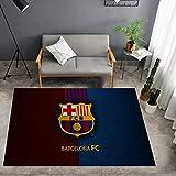 Kele Alfombra Infantil rectángulo Creativo Azul Rojo Costura nórdica Logo de fútbol Barcelona Dormitorio Creativo Sala de Estar Alfombra 80 * 120cm