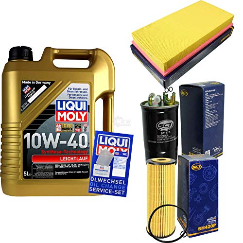 Filter Set Inspektionspaket 5 Liter Liqui Moly Motoröl Leichtlauf 10W-40 SCT Germany Kraftstofffilter Luftfilter Ölfilter