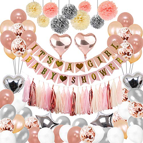 Toupons Geburtstag Dekorationen Baby Mädchen, Rosa und Gold Party Dekoration It's a Girl Baby Shower Dekorationen 108Pcs Banner Girlande Papier Pompons Folienquaste Luftballons Babydusche Deko