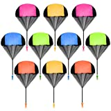 Ledorr 10 Pack Parachute Toy, Tangle Free Throwing Toy Parachute, Kids Outdoor Toys, Flying Gifts for 3 4 5 6 7 8 9 10 Year Old Boy Girl Toy