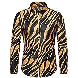 Camisa informal para hombre con estampado de cebra, manga larga, de alta calidad social amarillo M