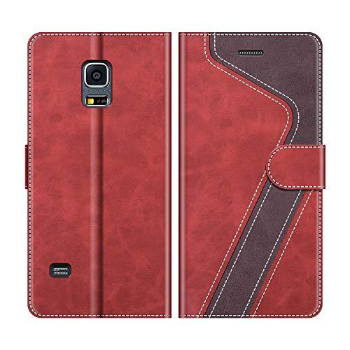 MOBESV Custodia Samsung Galaxy S5 Mini, Cover a Libro Samsung Galaxy S5 Mini, Custodia in Pelle Samsung Galaxy S5 Mini Magnetica Cover per Samsung Galaxy S5 Mini, Elegante Rosso