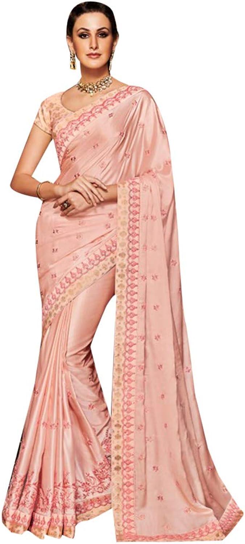 Ethnic Designer Muslin Satin Saree Sari with elegant Embroidery Indian Muslim Diwali Navratri Festive 7229 5