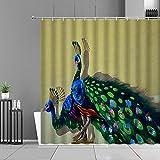 Duschvorhang Gelbgrüner Pfau Shower Curtains Polyester Duschvorhänge Wasserdicht Shower Curtain Antibakterielles Duschvorhang Badewanne Antischimmel Inkl 12 Duschvorhangringen 180x220