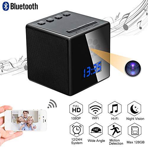 Camara Espia Oculta Mini Spy CAM WiFi TANGMI Altavoz Bluetooth Despertador TANGMI 1080P HD WiFi Cámara Niñera Inalámbrica Videocámara de Vigilancia Detección de Movimiento Visión Nocturna 140°