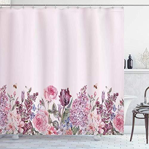 N / A Cortina de Ducha Malva Ramo de Acuarela Vintage de Coloridas Flores de jardín de Primavera Arreglo romántico Tela de Tela Baño-W180cmxH180cm