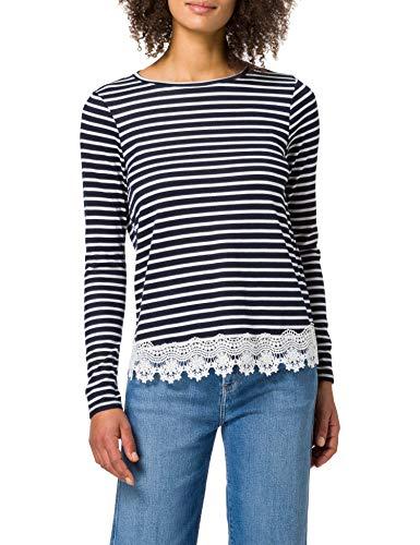 Springfield Camiseta Bajo Crochet, Azul Medio, S para Mujer