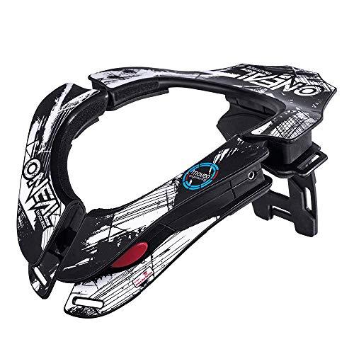 O'NEAL | Motocross-Protektor Nacken | MX MTB Mountainbike | 2 Zonen zum Einstellen, 2 Vorderpolster, Front-Verschlussmechanismus | Tron Neckbrace Shocker | Erwachsene | Schwarz Weiß | One Size