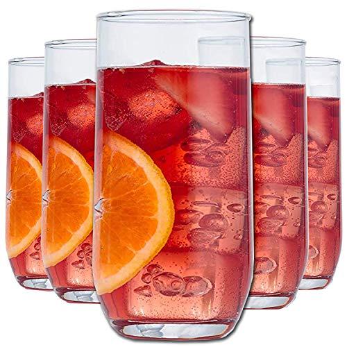 Juego de 6 vasos de vidrio Highball para beber, vasos de cristal, juego de 6 vasos de agua grandes, 415 ml