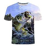 T-Shirt De Verão Masculina Casual Impressa Em 3D para Pesca De Manga Curta Em 3D Roupas De RUA,XL
