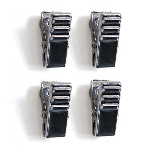Bloc aimanté pinces Crocodile, en Chrome-Lot de 4 - Soutenir jusqu'à 8 feuilles de papier A4 sur un panneau d'affichage, tiroir ou étagère en acier avec ces petits crocodile clips