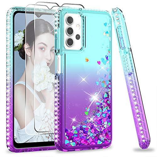 LeYi per Cover Samsung Galaxy A32 5G Custodia Glitter con Vetro Temperato [2 Pack], Brillantini Silicone Sabbie Mobili Antiurto Bumper TPU Case Donna Ragazza Turquoise Violet Gradient