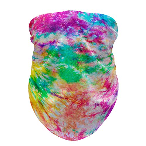 Tie-Dye Neck Gaiter Women Tube Mask Pull Up Face Sleeve Wind Dust Protection