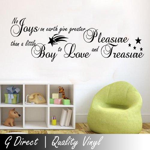 No Joys on Earth autocollant de décalque de mur de vinyle Quote Pregnat Boys Bedroom Nursery Kids Childrens 100x55