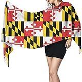 Bufanda de mantón Mujer Chales para, Maryland Flags Bufanda cálida de invierno para mujer Moda larga, grande, suave, chal de cachemira, bufandas envolventes