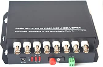 Primeda-tronic 8 Channels Video Over one Fiber Optic Media Converters for Camera Surveillance,Include Transmitter and Receiver