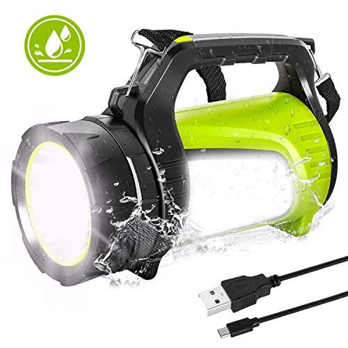 LED Handscheinwerfer,Wiederaufladbare 1000 Lumen Campinglampe Laternen Wasserdicht 7 Lichtmodi Flexibel Notfallleuchte Taschenlampe Warnlicht,geeignet für Camping,Abenteuer, Wandern, Notfall usw.