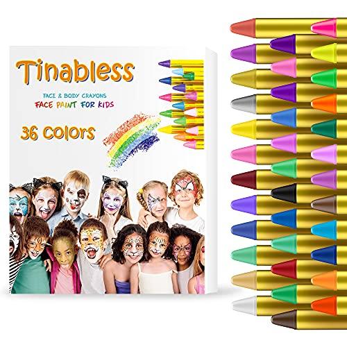 HENMI Pinturas Cara para Nios Seguridad no txica Pintura Facial, 36 Colores Crayons de Pintura Ajuste Halloween, Fiestas, Semana Santa,Navidad.
