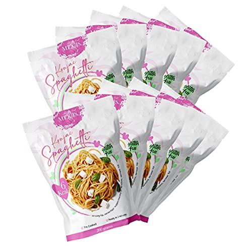 MICCIS. Pasta di Konjac ipocalorica e senza carboidrati - Pasta Shirataki a basso contenuto calorico / 10 pacchetti in Spaghetti Konjac