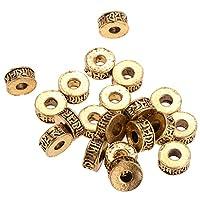 Abbraccia ジュエリーのための20個のチベットスタイルの金属製スペーサービーズ - ゴールド, 11mm