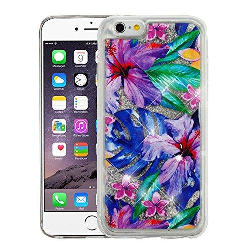 Apple iPhone 6 Plus/6s Plus Case, Valor Quicksand Glitter Hibiscus Flower PC/TPU Rubber Case for Apple iPhone 6 Plus/6s Plus, Multi-Color