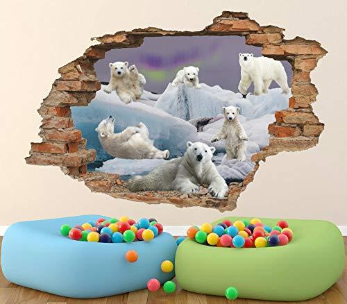 SHUBING White bear 3d wall decal polar bear removable wall sticker wild nature