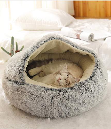 LUOWAN ALBAGO Katzenhöhle Katzen Haus Katzenbett Haustier Pet Nest Schlafsack 2 in 1 Faltbar Kuschelhöhle (50 X 50 cm,B)