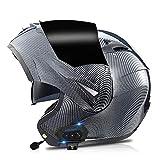 Bluetooth Integrado Casco Moto Modular con Doble Visera Cascos de Motocicleta a Prueba Viento ECE Homologado para Adultos Hombres Mujeres - Fibra de Carbono, Espejo Negro S