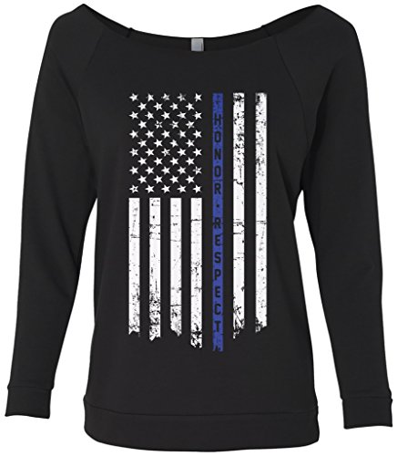 Threadrock Women's Honor & Respect Thin Blue Line Flag Raw-Edge Raglan Shirt L Black