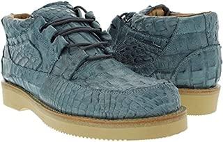 Men's Denim Blue Genuine Exotic Crocodile Skin Sneaker Shoe
