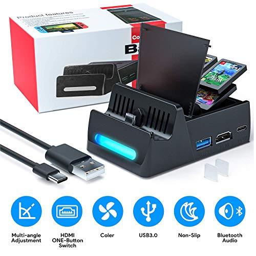 Base de carga para conmutador Nintendo - Base de TV de carga portátil compacta WATSABRO para conmutador, puerto de entrada de alimentación USB C, puerto USB 3.0 y soporte HDMI para conmutador Nintendo