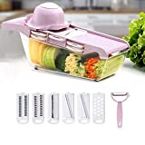 Mandoline Vegetable Slicer Cutter, Food Slicer Kitchen Vegetable Cutter 6 pieces Interchangeable Blades with Peeler,Hand Protector,Food Storage, Potato,Tomato,Onion,Cheese,Vegetable Chopper