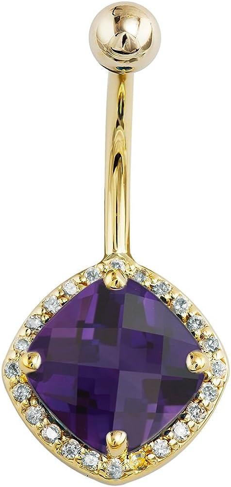 FreshTrends Amethyst Diamond Halo Style Yellow Ranking TOP5 Gold Latest item 14k Belly
