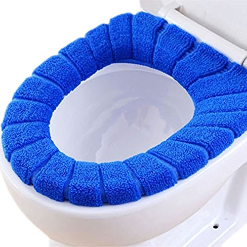 Demarkt WC Sitzbezüge Toilettensitzabdeckung Toilettensitz Pad Wärmer WC Sitzbezug Deckel Waschbar Toilleten Sitz Abdeckungskissen WC Sitz Auflage Matte (Blau)