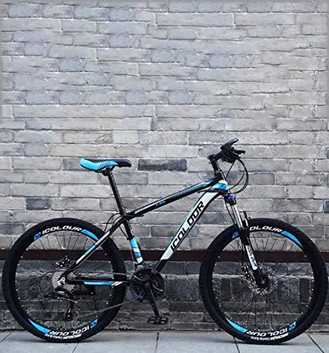AISHFP Morbida Coda Folding Mountain Bike, Doppio Freno a Disco in Acciaio/High-Carbonio Telaio Bici, off-Road Beach motoslitta Biciclette, 26 Pollici Ruote,Blu,24 Speed