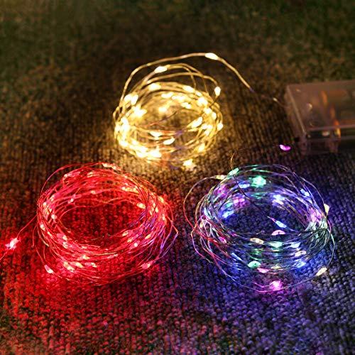 Stringa Luci LED a Batteria[3 Packs], Catena Luminosa 4m 40 LED per Interni e Esterni IP65 Impermeabile, Lucine LED Decorative per Casa, Natale, Matrimonio,Festa, DIY (Bianco Caldo, Rosso, Colore)