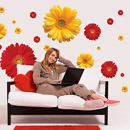 PMSMT 3D Chrysanthemen Daisy Flowers Abnehmbare wasserdichte DIY Wall Deca Wandaufkleber Wandbild Schlafzimmer Wohnzimmer TV Badezimmer Dekor Neu